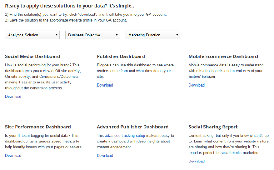 Google Analytics Solution Gallery