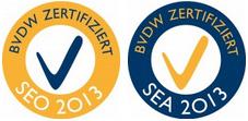 Auch 2013 hat uns der BVDW wieder die Qualitätszertifikate für SEO und SEA verliehen.