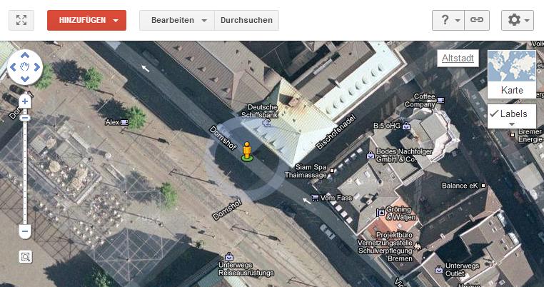 Die Oberfläche des Google Map Makers.