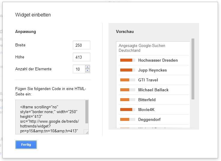 Google Trends einbinden