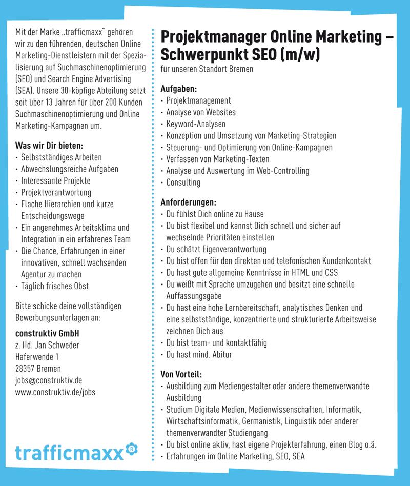 Gesucht: SEO Projektmanager für unser Team in Bremen. Zur Vergrößerung bitte klicken.