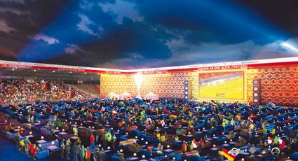 So soll es aussehen: 750 Sofas zieren den Innenraum des WM Wohnzimmers.