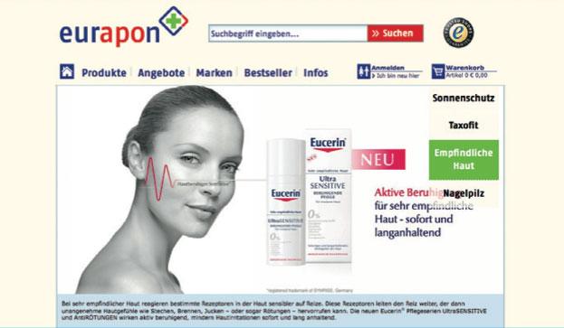 Website der Versandapotheke eurapon (www.eurapon.de)