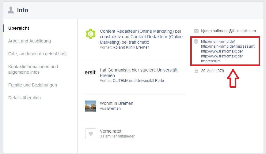 Facebook Info Impressum privat