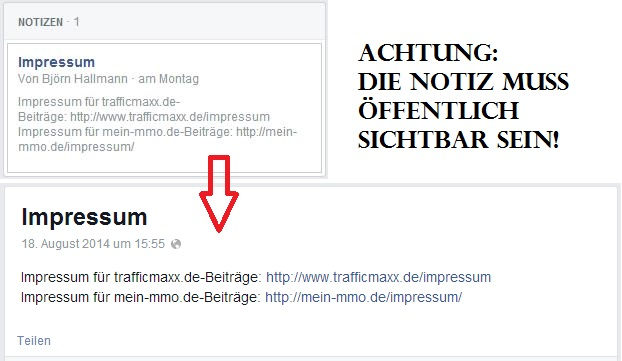 Facebook Notiz Impressum