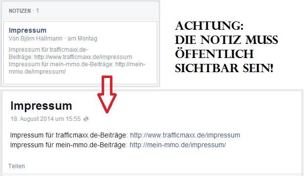 Facebook Notiz Impressum