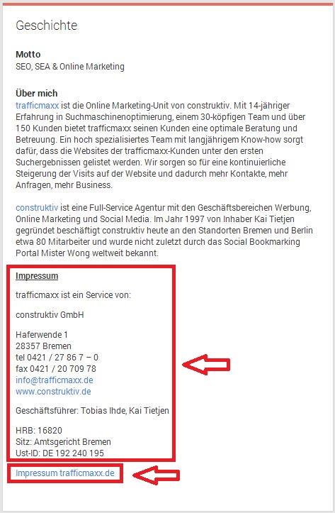 Google+ Impressum Info Geschichte (2)