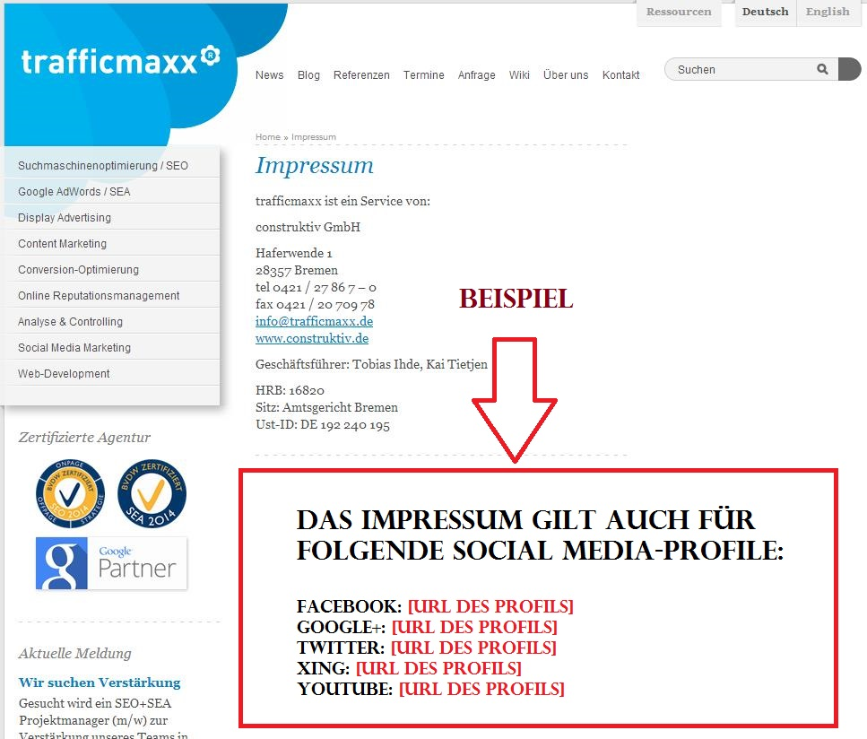 Impressum mit Socila Media Profilen