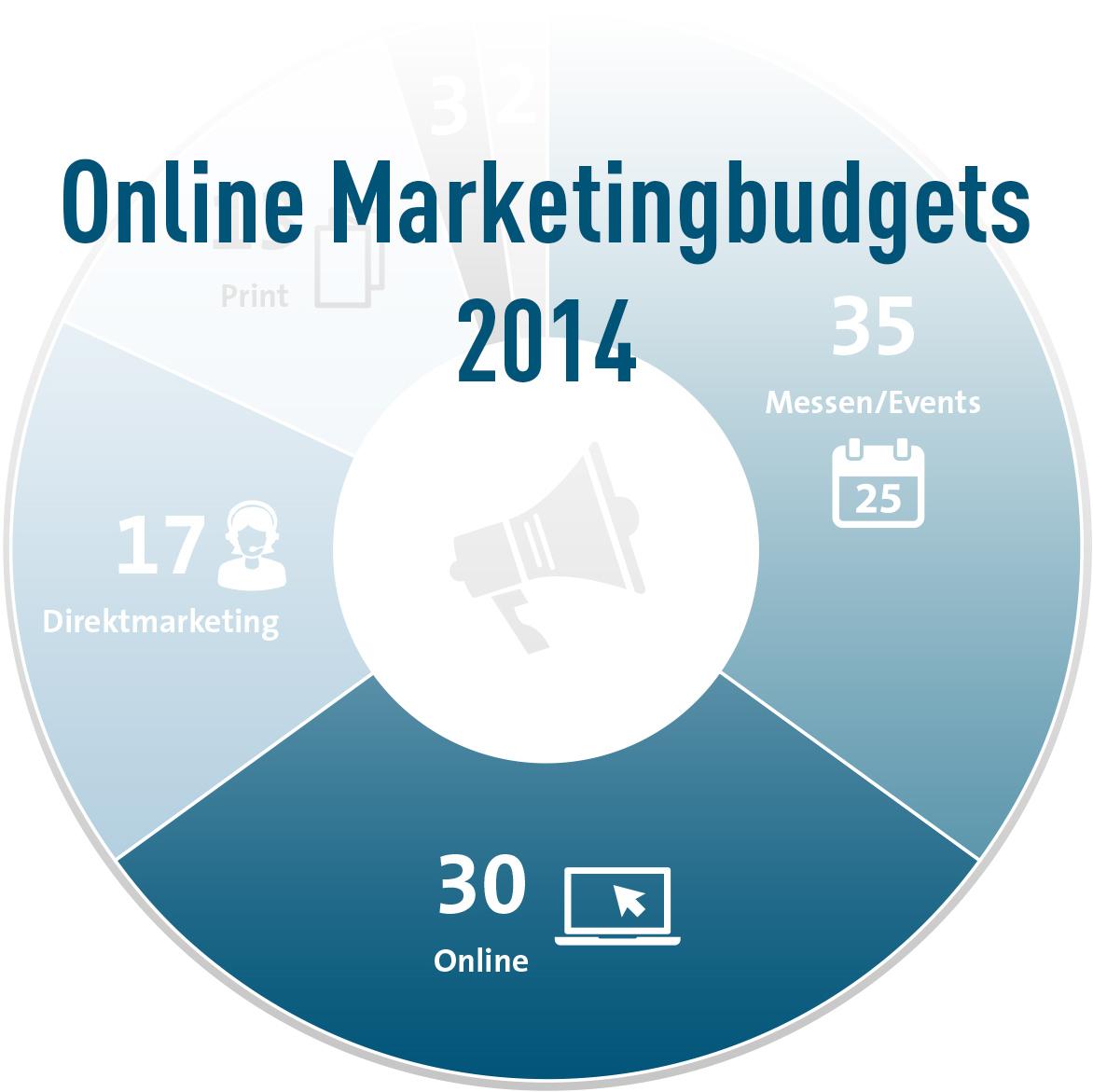 Verteilung der Online Marketingbudgets in 2014