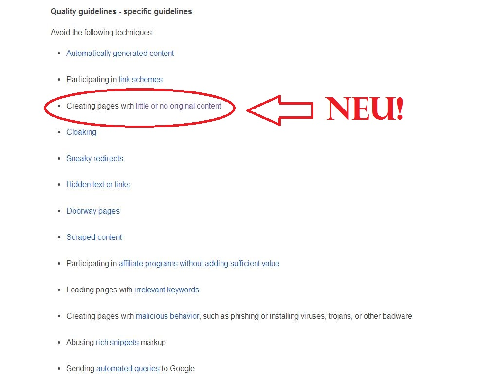Webmaster Quality Guidelines Gastbeiträge