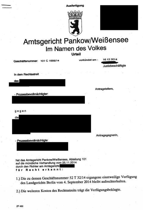 Urteil AG Pankow/Weißensee