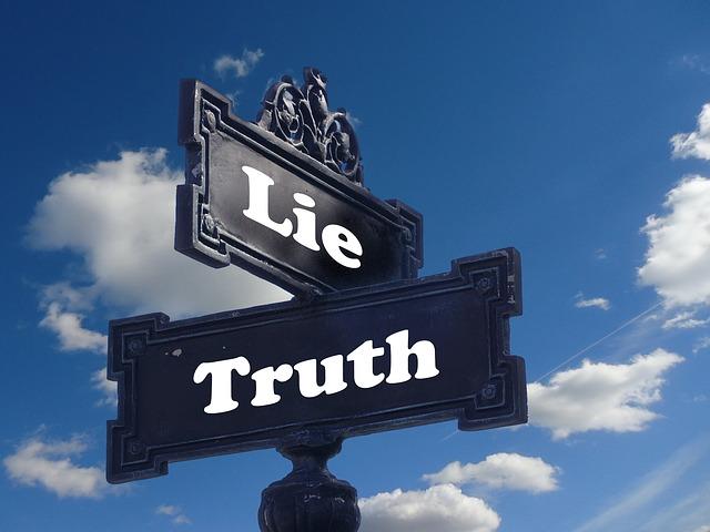 Wahrheit Lüge Schild