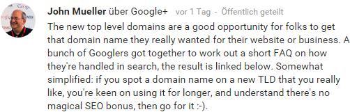 Google Webmasters _ John Mueller zu TLDs in Google+ - trafficmaxx