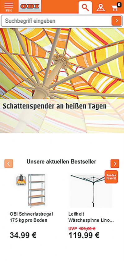 Die Website von OBI im Responsive Design