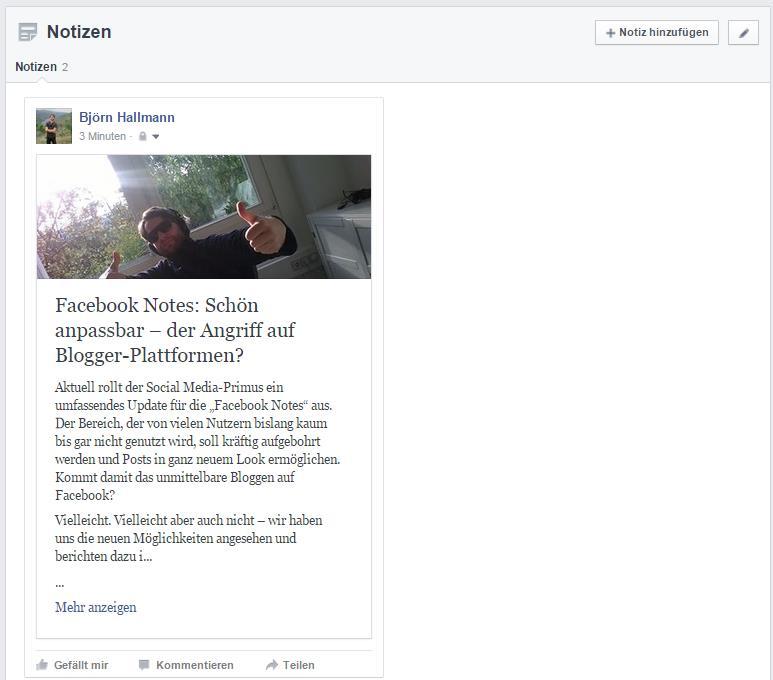 Facebook Notes / Notizen-Bereich - Corporate-Blogger - Björn Hallmann - trafficmaxx
