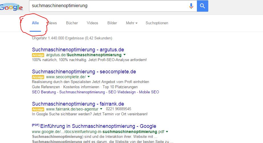 Universal Search in den Suchergebnissen von Google