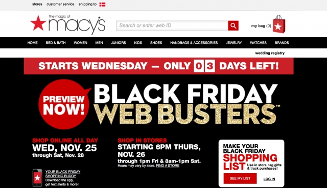 Marcys Gewinnspiel Black Friday-Website