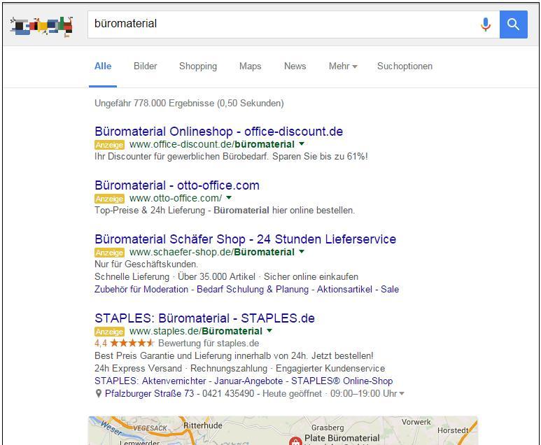 Google AdWords 4 Anzeigen-Plätze