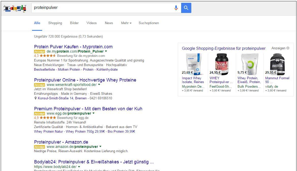 Google AdWords 4 Anzeigen-Plätze - trafficmaxx