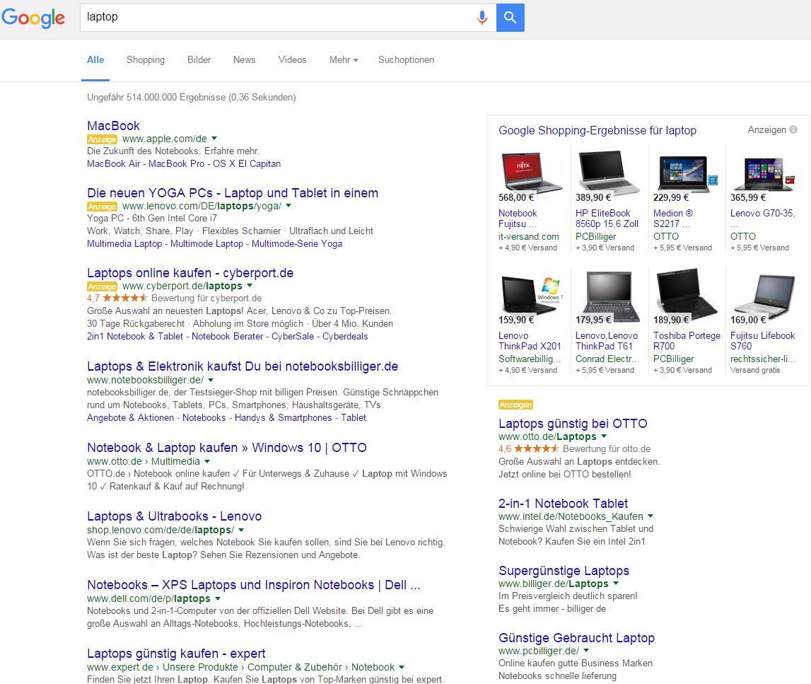 Google SERPs mit 10 AdWords-Anzeigen und PLAs