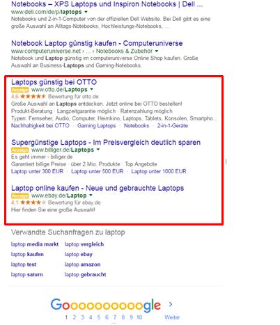 Adwords-Update: Anzeigen unterhalb der organischen Suchergebnisse.