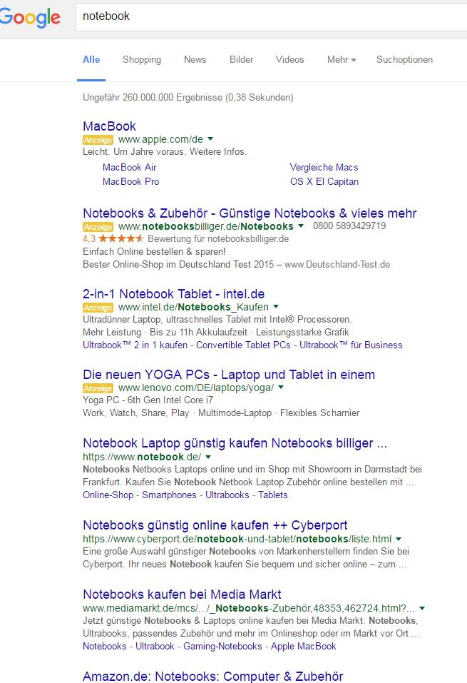 Adwords-Update: Vier Anzeigen über den organischen Suchergebnissen