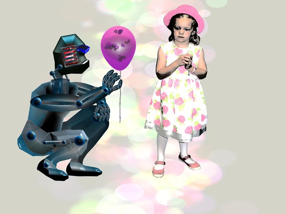 Roboter schenkt Mädchen Luftbalon