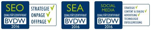 BVDW Zertifikate 2016 - Für SEO, SEA und Sozial-Media