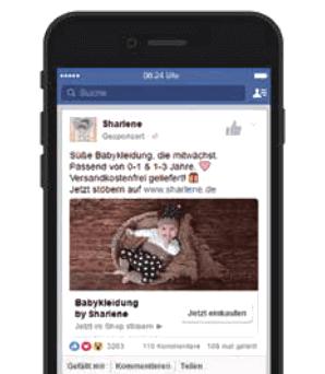 Ob am Desktop oder wie hier mobil: Transaktionsorientierte Bild-/Text-Anzeigen holen Ihre potenziellen Kunden direkt in ihrem persönlichen Facebook-Stream ab