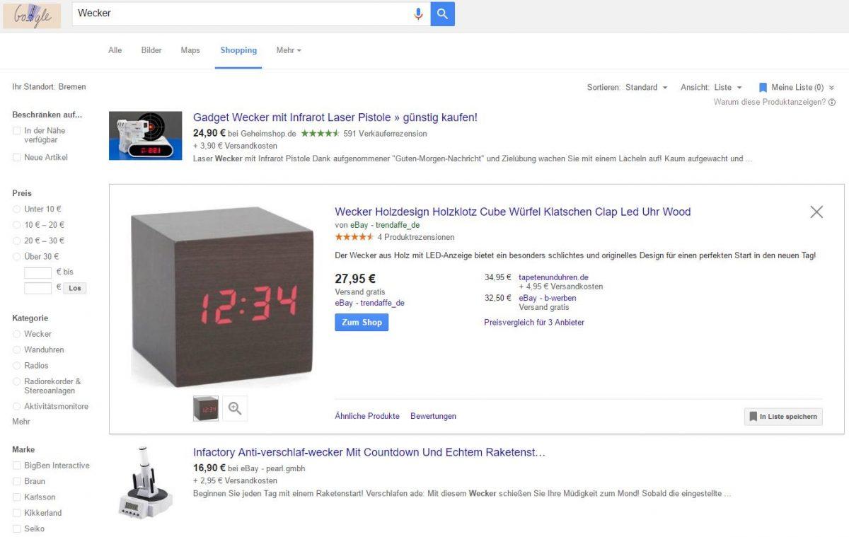 Google Shopping als Suchmaschine