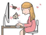 Online-Shopping, Frau, Mädchen, E-Commerce, Zeichnung