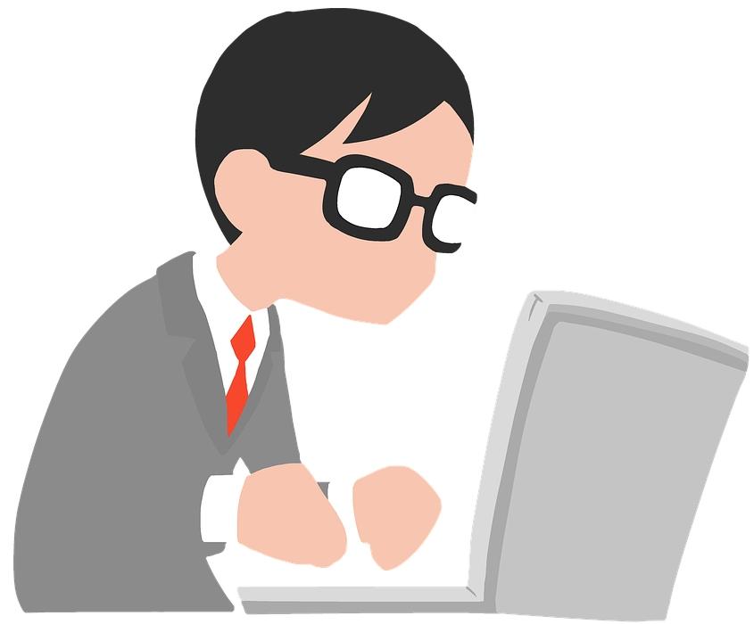 zeichnung redakteur japaner nerd laptop notebook texter copywriting