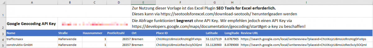 Google Geocoding API SEO Tools for Excel Vorlage