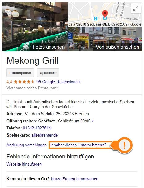 Google Local Pack unbestätigter Eintrag