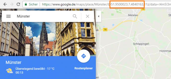 Google Maps Längen- und Breitengrad der URL entnehmen