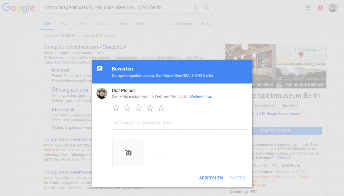 Google SERP Local Review Formular