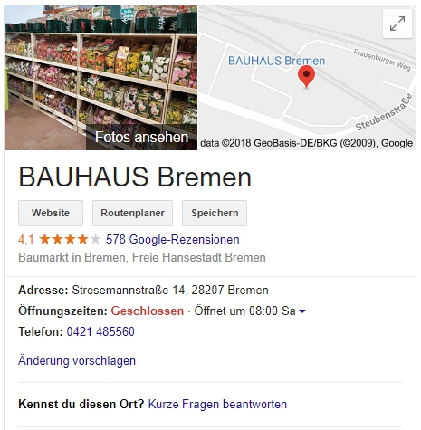 Google Local Knowledge Panel: Kennst Du diesen Ort?