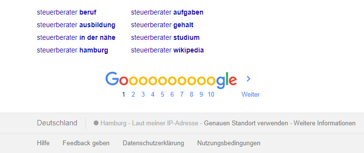 Google SERP vor der Anpassung der Geolocation