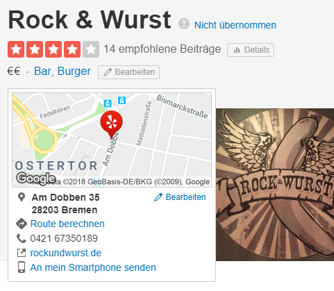 Strukturierte Local Citation Quelle: Yelp